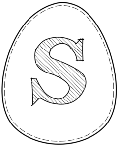 Printable Easter egg with letter S on it