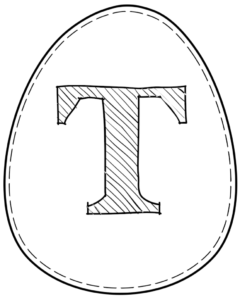 Printable Easter egg with letter T on it