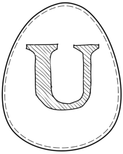 Printable Easter egg with letter U on it