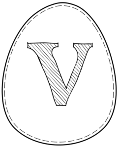 Printable Easter egg with letter V on it