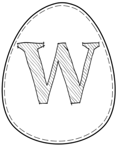 Printable Easter egg with letter W on it