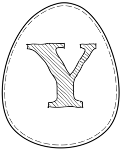Printable Easter egg with letter Y on it