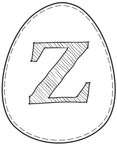 Printable Easter egg with letter Z on it