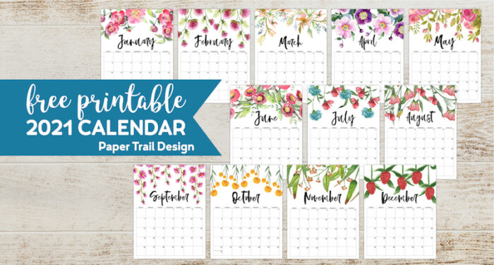 Free Printable 2021 Floral Calendar