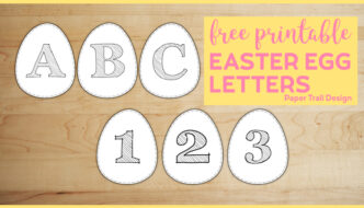 Six white Easter Eggs with letters A,B,C and numbers 1,2,3 written on them with text overlay- free printable Easter Egg Letters.