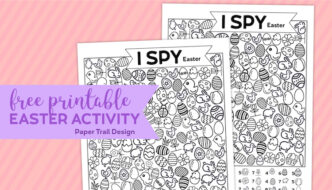 Easter themed I spy activity on a pink background with text overlay- free printable Easter activity.