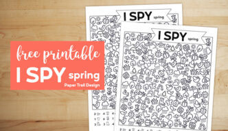 I Spy spring themed game on wood background with text overlay- free printable I spy spring.