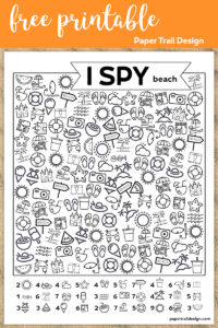 Beach themed I spy activity on sand border with text overlay- free printable