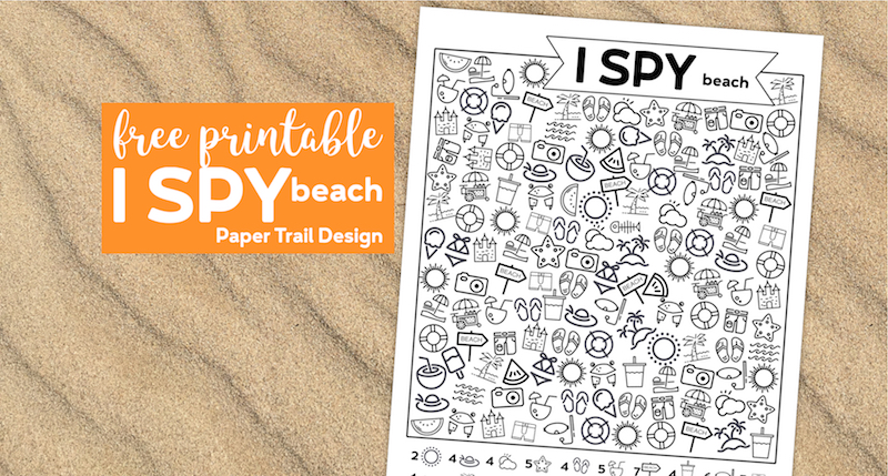 I spy beach themed kids activity on sand background with text overlay free printable I spy beach
