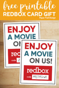 Two printable redbox movie code cards with text overlay- free printable redbox card gift