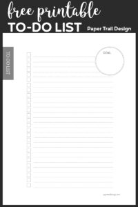 To-do checklist with an area to write your goal on black background with text overlay- free printable to-do list