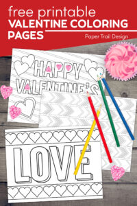 Valentine's Day coloring pages with text overlay- free printable Valentine coloring pages