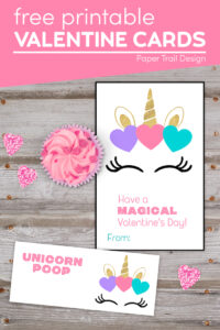 Unicorn Valentine's Day cards for kids with text overlay- free printable Valentine cards