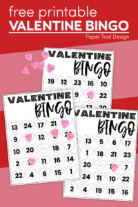 Valentine bingo game card printable pages with text overlay- free printable valentine bingo
