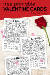 I spy DIY Valentine cards for kids with text overlay- free printable valentine cards