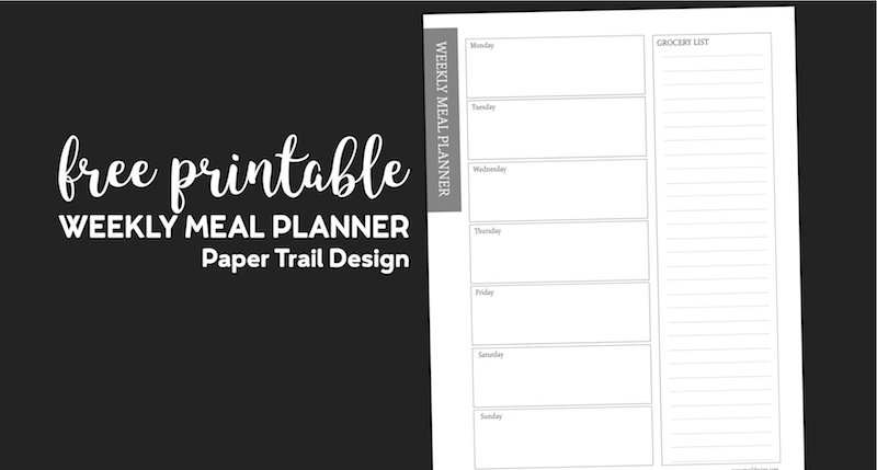 Meal plan printable with a space for each day of the week and a column to write your grocery list with text overlay- free printable weekly meal planner