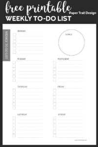 To-do list for each day of the week and a place to write goals with text overlay- free printable weekly to do list