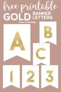 Banner with gold letters A, B, C, 1, 2, 3 with text overlay- free printable gold banner letters