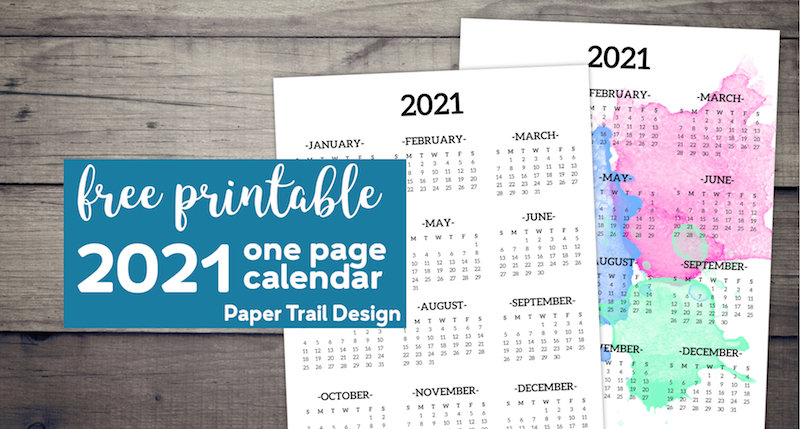 Calendar 2021 Printable One Page - Paper Trail Design