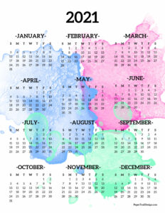 2021 year at a glance on page calendar from January to December with pink, blue, and green watercolor overlay