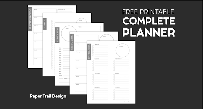 Five Planner pages on a black background with text overlay- free printable complete planner