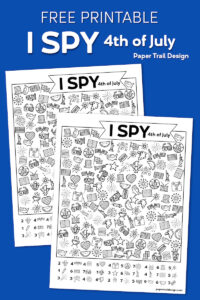 4th of July themed I spy page on a blue background with text overlay- free printable I spy 4th of July