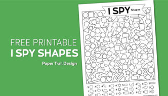 Printable I spy activity page with geometric shapes on a green background with text overlay- free printable I spy shapes