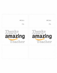 "Amazon card printable cutout with two cards that say ""Thanks for being an amazing teacher"""