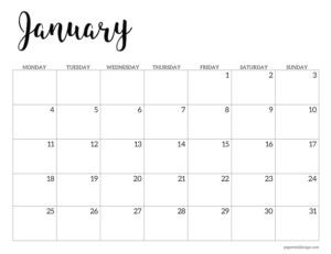 January 2021 basic Monday start calendar page