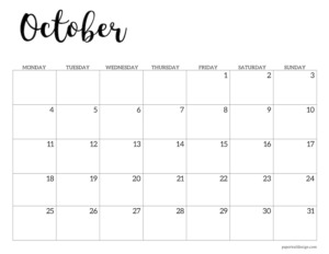 October 2021 basic Monday start calendar page
