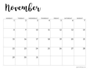 November 2021 basic Monday start calendar page