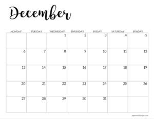 December 2021 basic Monday start calendar page