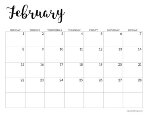 February 2021 basic Monday start calendar page