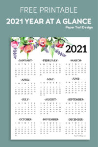 2021 one page calendar with floral elements on blue background with text overlay- free printable 2021 year at a glance