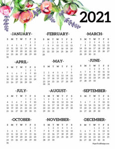 2021 one page calendar from January to December with floral elements