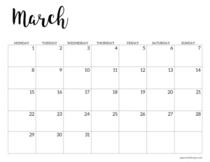 March 2021 basic Monday start calendar page