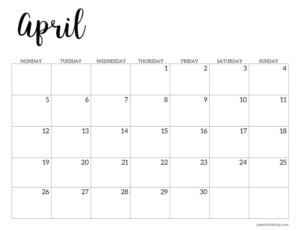 April 2021 basic Monday start calendar page