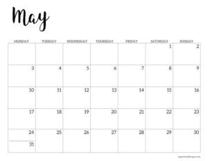May 2021 basic Monday start calendar page