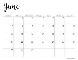 June 2021 basic Monday start calendar page