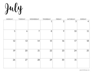 July 2021 basic Monday start calendar page