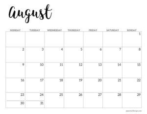 August 2021 basic Monday start calendar page