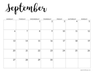 September 2021 basic Monday start calendar page
