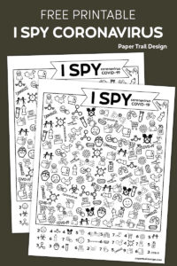 I spy activity with a coronavirus COVID-19 theme on brown background with text overlay- free printable I spy coronavirus