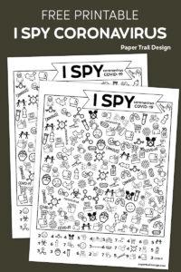 I spy activity with a coronavirus COVID-19 theme on brown background with text overlay- free printable I spy coronavirus