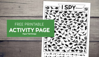 Dinosaur I spy activity with dinosaur silhouettes with text overlay free printable activity page