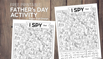 Two I spy father's day themed activity pages on wood background with text overlay- free printable Father's Day activity
