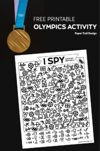 Olympic gold medal and I spy summer olympics activity on a black background with text overlay- free printable olympics activity