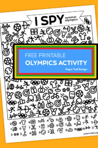 I spy summer olympics printable activity page on yellow background with text overlay- free printable olympics activity