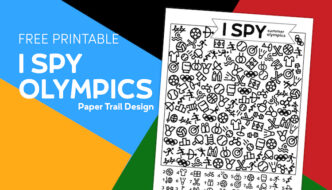 I spy olympics themed activity page on multicolored background with text overlay- free printable I spy olympics
