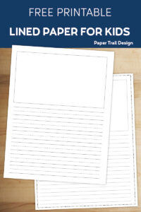 Lined writing paper with a drawing box on yellow background with two pencils with text overlay- free printable lined paper for kids
